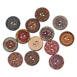 Wholesale Radom Mixed Natural Color Printing Color Pattern Holes Wooden Round Buttons mm Sewing Button For DIY Handmade Craft Decor I119L