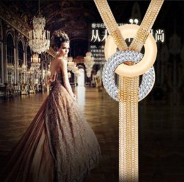Wholesale Long Tassel Necklace Pendants Multilayer Women High Quality Necklace K Gold Plated Austrian Crystal Sweater Chain necklaces