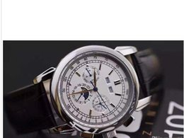 Wholesale Luxury Brand watch men Complications Perpetual Calendar moon phase watch automatic white dial leather belts Watch Men dress Watches PP watch