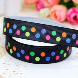 "5 8"" 16mm Colorful Polka 2 Dots Black Printed Grosgrain Ribbon Baby Item Craft Gift DIY Hair Accessories A2-16-11"