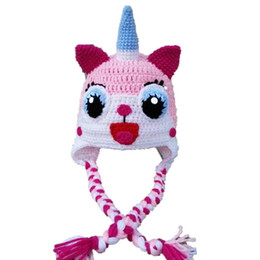 Lovely UniKitty Inspired Hat With Braids,Handmade Knit Crochet Baby Girl Earflap Hat,Kids Winter Hat,Infant Toddler Photo Prop