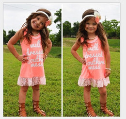 Retail Cute Girl Princess Dresses 2018 Girls Letters Printed Lace Dress Children Pink Sleeveless Vest Dress Kids Clothing Summer Dress