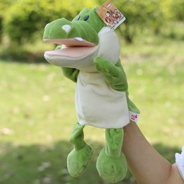 Wholesale Infant Children Hand Puppet Green crocodile Mouth active kids baby plush Stuffed Toy Puppets toys Christmas birthday gift