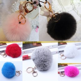 Big Size 9CM Rabbit Hair Bulb Fur Plush Ball Bag Key Ornament Lady Pendant Chain #R410