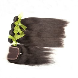 Best Quality Indian Human Hair Virgin Human Hair Weave Indian Hair Bundles With Lace Closure Straight Hair Top Closure Remy Hair