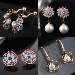 Discount DHL& Wholesale 60pcs lot Quality 18KGP Rose Gold Earrings Fashion Crystal CZ Earrings CZ Crystal Pearl Alloy 150816-3