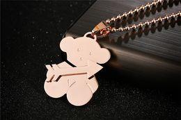 Wholesale Hot European Style Fashion color titanium steel Bear Pendant Necklace Suit Titanium Jewelry Manufacturer jewelry