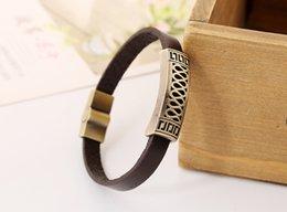 Wholesale 2016 New Arrival Fashion simple style antique copper metal rockers essential Leather Bracelet For loving couple