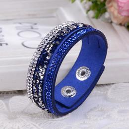 Wholesale 2016 New Leather Bracelet Crystal Wrap Bracelets For Women Multilayer Long Bracelets Bangles Ladies Braclet Fashion Jewelry