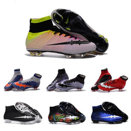 New Mercurial Superfly FG CR7 Shoes Kids Boys Soccer Boots Cleats Laser Womens Girls Soccer Shoes Children High Ankle Football Shoes