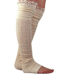 New Leg Warmers Five Colors lace socks knitted cotton toe socks Knee High Socks Chaussettes Femme Socks Women