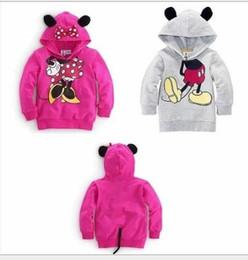 Capas superiores del traje en Línea-Bebés de los muchachos de los niños de Mickey Mouse Minnie de manga larga con capucha 3D Tops sudaderas con capucha caliente de la capa de deporte Trajes traje de los sistemas ropa del invierno
