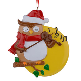 Wholesale Resin Glossy Violin Owl Personalized Christmas Ornaments Used For Holiday Keepsake Gifts and Home Decor