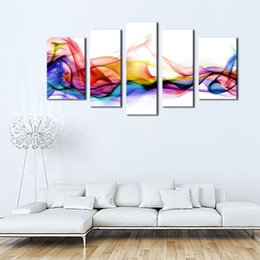 5 Picture Combination Wall Art Fresh Look Color Abstract Smoke Colorful White Background On Canvas For Home Modern Decoration