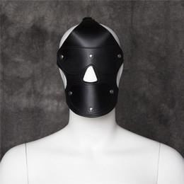 Compra Online Traje de cuero completo-Máscara de cuero Capucha completa Bondage Fetiche del partido del traje de sujeción Juego de roles GIMP TT24 # R501