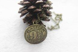 Wholesale 12pcs antique silver bronze Harry Potter Necklace Hogwarts Express Station Platform charm Pendant Necklace