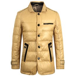 Wholesale Camel Color Winter Coat Men - E-artist New Winter Duck Down Jacket Mens Ultra-light Stand Collar Parka Winter Jacket Men Thick Coat Camel Plus Size 5XL Y10