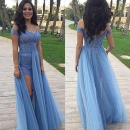 Sexy Dresses Evening Wear Prom Dress Long Sweetheart Neckline Off the Shoulder Lace Appliques Tulle Skirt Formal Gown with High Split
