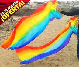 2016 sales of 100% high-quality silk handmade silk veil belly dance fan,Colorful vertical stripes 180 * 90 cm 1 pair fan