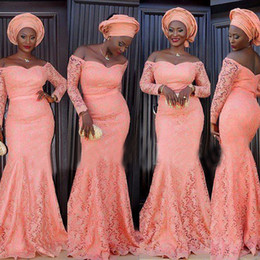 Vintage Lace African Prom Dresses Rose Pink Off the Shoulder Mermaid Evening Party Gowns Cheap High Quality Custom Made Formal Dress Sleeves