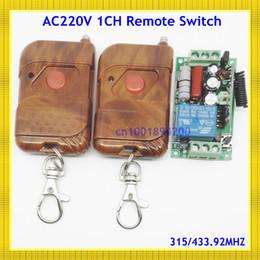 Control remoto 315 en venta-Al por mayor-CA 220V 10A 1 canal de control remoto del interruptor del receptor 2Transmitter 315/433 LED lámpara de luz RF relé remoto inalámbrico ON OFF Empuje Bu