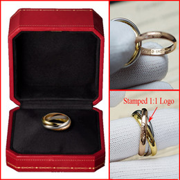 Wholesale Top Quality Famous Brand K Real Gold Plated Wedding Rings For Women L Stainless Steel TRINITY Styles Ring With Original Logo Box