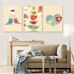 Free shipping 3 Pieces unframed Home decoration art picture Canvas Prints Cartoon birds tree Abstract oil painting potted flower tulips
