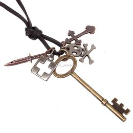 Wholesale 2016 New Vintage Antique Copper jewelry to the door of happiness key pendant Mens Necklace Jewelry mixed batch