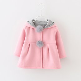 Clear Stock Baby Girls 2 Pom Pom Rabbit Hood Coats 2017 Fall Winter Hot Sale Children Boutique Clothing Kids Girls Solid Color Coats