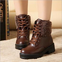 Descuento botas de cuña mujeres morenas 2016 Botas Zapatos Otoño Negro castaño Martin botas de mujeres de la marca al aire libre de la cuña botas de deporte de ocio tobillo