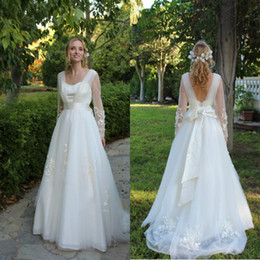 New Arrival A Line Sweetheart Court Train Ivory Organza Wedding Dresses With Long Sleeve Appliques Custom Made Formal Bridal Wedding Gowns