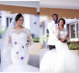 2019 White Plus Size Mermaid Wedding Dresses with Illusion Long Sleeve Applique Crystal Bateau Neck Arabic Lace Elegant Bridal Wedding Gown