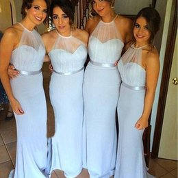 2016 Cheap Halter Chiffon Bridesmaid Dresses For Summer Illusion Neck Elegant Girls Party Gowns with Satin Sash