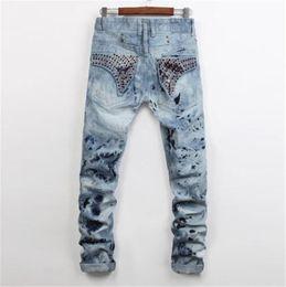 Wholesale Men Straight Jeans Classic Denim Trousers Robin Jeans For Men High Quality Cotton Jeans Fried Snow Slim Jeans Rhinestone Decoration