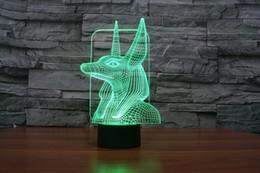 2017 New Design Pharaoh's Guard 3D Optical Lamp Night Light 9 LEDs Night Light DC 5V Colorful 3D Lamp