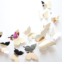 12Pcs lot New Arrive Mirror Sliver 3D Butterfly Wall Stickers Party Wedding Decor DIY Home Decorations for Kids Rooms Adhesive