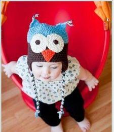 Wholesale Hot Selling Winter Wool OWL Kids Manual Cap Crochet Lovely Baby Beanie Handmade Cap Children Infant Knit OWL Hats New Fashion