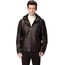 Wholesale hat black motorcycle man coat Genuine Leather Sheepskin Mandarin Collar leather jacket Leather jacket men biker jacket