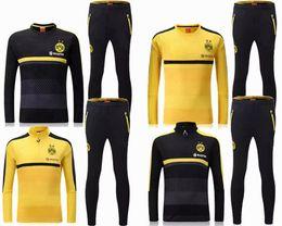 Wholesale 2016 Thai best quality Borussia survetement football tracksuits Dortmund training suits soccer jacket long pants sports wear sets