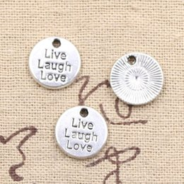 150pcs Charms live laugh love 12mm Antique Making pendant fit,Vintage Tibetan Silver,DIY bracelet necklace