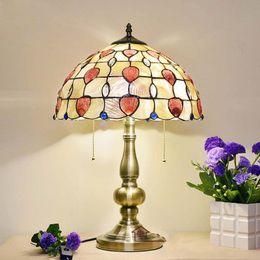 Wholesale Light Blue Bedside Lamp - 12 Inch Tiffany Lamp Bedroom Bedside Light Mediterranean Garden Tiffany Light Happy Heart Shell Table Lamp Blue Chamilia Beads