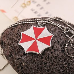 Wholesale Resident Evil movie jewelry Necklaces The Umbrella Corporation Red Enamel Zinc Alloy Collares Pendants Classic women statement necklaces