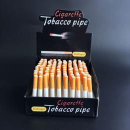 Wholesale Ceramic Cigarette Hitter Pipe Yellow Filter Color100pcs box Cigarette Shape Tobacco Pipe One Hitter Bat Metal Smoking Pipes