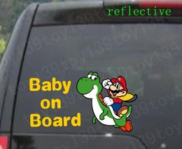 Wholesale for Super Mario Baby Yoshi quot BABY ON BOARD quot Vinyl Car window Decal Vinyl funny Car phone window Decal Sticker color reflective yellow