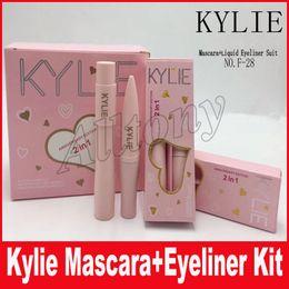 Newest 2 in1 Kylie Mascara+Eyeliner Charming eyes Magic Thick Slim Waterproof Mascara Eyeliner Black kylie i want it all make up set
