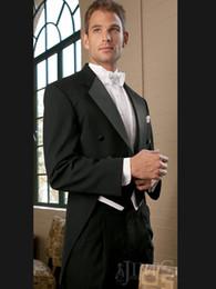 Wholesale 2016 Black Tailcoat Two Button Groom Tuxedos Peak Satin Lapel Best man Groomsman Men Wedding Suits Bridegroom Jacket Pants Tie Vest