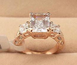 18K Rose Gold Plated Sparkly Austrian Zirconia Rhinestone Rectangle Luxury Diamond Wedding Ring Wholesale 18KRGP