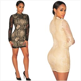 Wholesale Summer burst of Europe and the United States foreign trade sexy long sleeved lace dress bag hip skirt hot