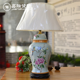 Wholesale Top Quality Antique Chinese Hand painted ceramic Reading Table Lamp Flower and birds Pattern Porcelain Bed Room lamp Home decoration