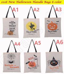 Araignées noires en Ligne-Halloween Sac à main sac en toile avec poignée noire 36X48cm shopping sacs fourre-tout Citrouille Hallowmas diable d'araignée Cadeaux OOA242